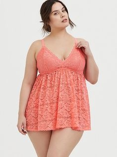 Plus Size Coral lace Babydoll and Thong Panty, Curvy Girl Lingerie, Jolie Lingerie, Curvy Women Fashion, Plus Size Lingerie, Plus Size Fashion, Coral Lace, Red Chiffon, Lace Babydoll, Matches Fashion