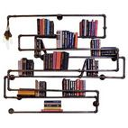 Double Drop Industrial Pipe Bookshelf With Lighting - industrial - wall shelves - by Oilfield Slang/Stella Bleu Designs