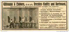 Original-Werbung/ Anzeige 1903 : WASCHEINRICHTUNGEN / GÖHMANN & EINHORN - DRESDEN- KADITZ - ca  200 x 90 mm
