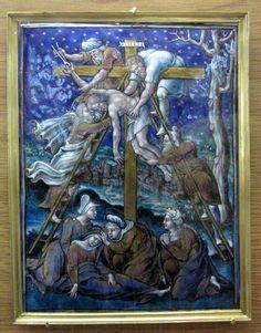 Atelier de Pierre Reymond, la Déposition du Christ (château d'Ecouen): Scènes de la vie du Christ, 3° quart du XVI°s, Email peint polychrome; Fonds Du Sommerard, 1843, E.CL. 897 a-p.