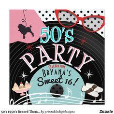 50's 1950's Record Theme Party Invitations