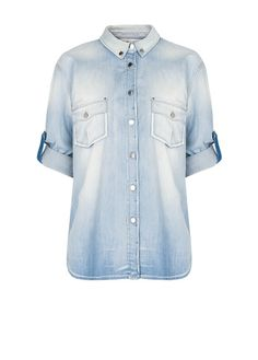 MANGO - Camisa denim efecto desgastado
