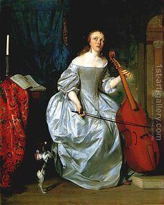 Woman Playing the Viola da Gamba by Gabriel Metsu - Reproduction Oil Painting