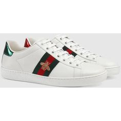 Gucci Ace Embroidered Sneaker (5 200 SEK) ❤ liked on Polyvore featuring shoes, sneakers, embroidered sneakers, gucci, leather low top sneakers, embroidered shoes and snake leather shoes