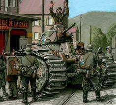 Char bis 'Heros' durante la Campaña de Francia 1940 - pin by Paolo Marzioli Military Diorama, Military Art, Military History, German Soldiers Ww2, German Army, Diorama Militar, Army Drawing, Military Drawings, Germany Ww2