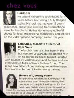We're honored! Our associate hair director, Sam Chok is invited to be part of the judging panel for Simply Her magazine very first Smart Shopper Great Hair Awards. So skip the guesswork, check out the November 2014 Simply Her issue now.  #simplyher http://chezvoushair.com/
