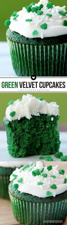 These green velvet cupcakes are perfect for a St. Made from scratch, they come together quickly and easily and are topped with cream cheese frosting. patricks day food desserts Green Velvet Cake And Cupcakes Holiday Desserts, Holiday Treats, Just Desserts, Holiday Recipes, Delicious Desserts, Dessert Recipes, Green Desserts, Holiday Cupcakes, Party Cupcakes