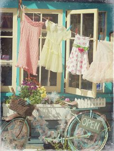 """Clothes line with cute pegs for baby clothes & bike Summer Cottage by Claire Brocato. Photo taken at the vintage/shabby chic store in Solana Beach called """"Out of the Blue. Vintage Love, Retro Vintage, Vintage Props, Vintage Heart, Vintage Ideas, Retro Art, Vintage Girls, Vintage Colors, Old Bicycle"""