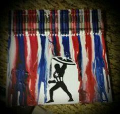 Captain America Crayon Art - Visit to grab an amazing super hero shirt now on sale! Crayons Fondus, Melting Crayons, Marvel Gifts, Superhero Gifts, Captain America Painting, Captain America Drawing, Crayon Painting, Melting Crayon Art, Melted Crayon Crafts