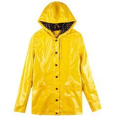 Yellow Vintage Dot Raincoat Outerwear ❤ liked on Polyvore