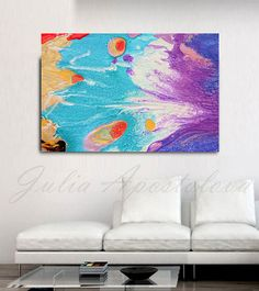 Large Wall Art, Turquoise painting, Abstract Print, Canvas Art, Turquoise Print…