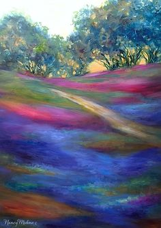 Artists Of Texas Contemporary Paintings and Art - Bluebonnet Wildflower Painting and an Art Studio on Wheels by Nancy Medina