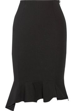 GIVENCHY Asymmetric ruffled stretch-crepe skirt. #givenchy #cloth #skirts
