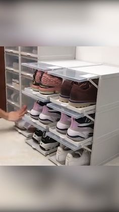 No more messy shoe racks, these compact little boxes are perfect for your many, MANY pairs of shoes! Get as many as you want and build them however you'd like! Best Shoe Rack, Diy Shoe Rack, Shoe Racks, Homemade Shoe Rack, Garage Shoe Rack, Wall Shoe Rack, Bedroom Closet Design, Home Room Design, House Design