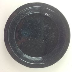 Vintage Black Enamel With White Speckle Rimmed Plate Pie Pans Camping Outdoors