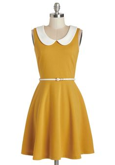 Work to Play Dress in Goldenrod. When your day is filled with on-the-go excitement, rely on this ModCloth-exclusive yellow dress to keep up with your busy schedule! #yellow #modcloth