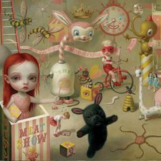 The Magic Circus is a bizarre contemporary gothic painting created in 2001 by Mark Ryden, the king of the pop surrealist painters. Ryden was born in the Pacific Northwest and grew up in Southern C… Mark Ryden, Illustrations, Illustration Art, Art Du Cirque, Arte Lowbrow, Tout Rose, Arte Horror, 6 Photos, Weird Art