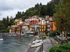 Colorful buildings line the small harbor in Varenna, Italy. Located on the shores of Lake Como in northern Italy, the quiet town is an hour's train trip from Milan.