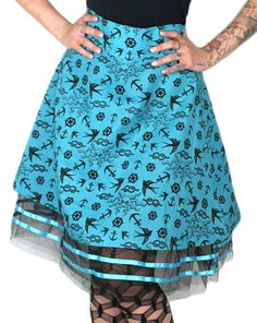 TOO FAST BRAND - TULLOS TULLE SKIRT - OCTOPUS AND ANCHORS