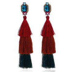 Prezzi e Sconti: #Rhinestone layered tassel vintage earrings  ad Euro 3.67 in #Jewelry > earrings #Gioielli