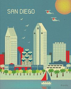 San Diego, California Skyline - Cityscape Art Poster Print for Home, Childs Nursery, and Office Decor - style via Etsy Road Trip Usa, La Jolla, Beach Boys, Beach Club, Voyage Usa, San Diego Skyline, Nautical Colors, Hallmark Greeting Cards, Cityscape Art