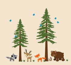Pine Trees Wall Decal Childrens Woodlands Decal  by WallArtPlanet, $180.00