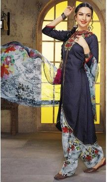 Navy Blue Color Cotton Punjabi Patiyala Stitched Suits with Dupatatta…