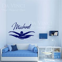 Swim Swimmer Swimming Decal Custom Name by DaVinciVinylDesigns