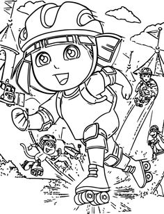 Dora Rollerskate Coloring Page. Also see the category to find . Bible Coloring Pages, Coloring Pages For Boys, Cartoon Coloring Pages, Printable Coloring Pages, Coloring Books, Boy Coloring, Coloring Sheets, Free Coloring, Roller Derby Tattoo