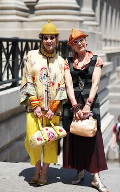 ADVANCED STYLE: Debra Rapoport and Tziporah Salamon.  This weekend we  attended a conversation between Iris Apfel and Tavi Gevinson at The Met. During the panel discussion Tavi and Iris discussed everything from what inspires their personal style to notions of conventional beauty in the fashion industry. What I appreciated most about the conversation was how Tavi and Iris both considered style a means for personal expression.