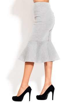 Midi pencil skirt with ruffle bottom and exposed back zipper. Comes in grey or black.  Fits true to size. $39