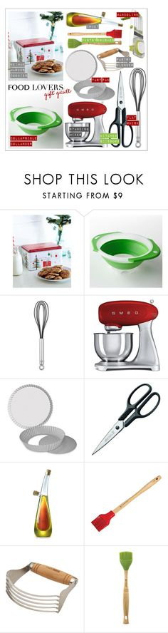 """""""Food Lovers Gift Guide Collection"""" by kimmyellipsis ❤ liked on Polyvore featuring interior, interiors, interior design, home, home decor, interior decorating, Food Network, Rösle, Smeg and Fat Daddio's"""