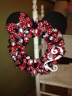 Minnie Mouse ribbon wreath I made for sweet Caroline's birthday party. Mickey Mouse Wreath, Minnie Mouse Party, Mickey Birthday, Birthday Ideas, Birthday Bash, Decor Crafts, Diy And Crafts, Xmas Wreaths, Door Wreaths