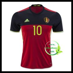 Billige Fotballdrakter Belgia E HAZARD 10 Hjemmedraktsett UEFA Euro 2016