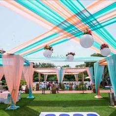 Stunning Turquoise Wedding Decor Photos that are Feast for t Pastel Wedding Theme, Desi Wedding Decor, Wedding Hall Decorations, Marriage Decoration, Tent Decorations, Wedding Entrance, Wedding Mandap, Wedding Receptions, Turquoise Wedding Decor