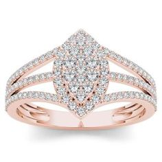 Shop for De Couer 10k Rose Gold 1/2ct TDW Diamond Marquise-Framed Cluster Engagement Ring (H-I, I2). Get free delivery at Overstock.com - Your Online Jewelry Destination! Get 5% in rewards with Club O!