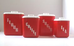 Kitchen Canister Set, Vintage Red Kitchen, Retro Plastic Canisters. via Etsy...
