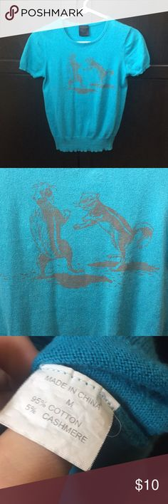 Short sleeve cyan blue fighting squirrel shirt Cotton/cashmere vintage Sweater T with fighting squirrels. Fits more like a small than a medium. Super cute! Tops Tees - Short Sleeve