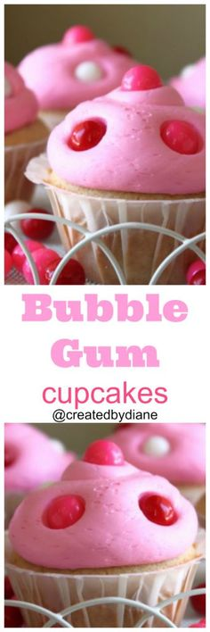 Bubble gum flavored icing makes these simple cupcakes AMAZING!
