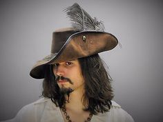Musketeer leather hat (brown) pirate costume renaissance fair medieval cosplay - http://clothing.goshoppins.com/costumes-reenactment-theater/musketeer-leather-hat-brown-pirate-costume-renaissance-fair-medieval-cosplay/
