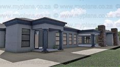 4 Bedroom House Plan - My Building Plans South Africa Brick House Plans, Modern House Floor Plans, Porch House Plans, Open House Plans, 4 Bedroom House Plans, Home Design Floor Plans, House Plans One Story, Craftsman House Plans, Interior Modern