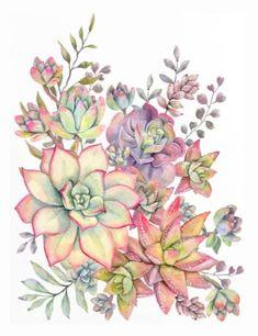 succulent watercolor 18 Comforters by Cali_Nature_ Dalleh - Queen: x Succulents Wallpaper, Succulents Drawing, Watercolor Succulents, Watercolor Flowers, Watercolor Paintings, Succulents Art, Indoor Succulents, Propagating Succulents, Planting Succulents