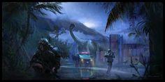 Dinosaurs Roaming The Earth, Zachary McLean on ArtStation at https://www.artstation.com/artwork/dinosaurs-roaming-the-earth