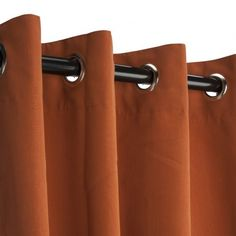 Canvas Rust Sunbrella Outdoor Curtain Panel Sold by the Single Panel Designed to withstand the elements Comes with matching tie back