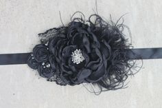 Black Vintage Bridal Sash by Exquisite by ExquisiteLittleLady, $34.99