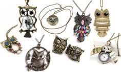 I love owls. owl jewelry, earrings and necklaces