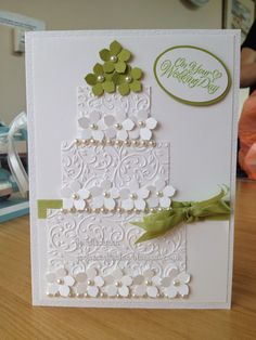 Embossed floral wedding card