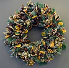 Citrus and Spice Christmas Door Wreath design by Notting Hill florist - Phillo Flowers in London, UK
