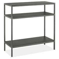 """Slim Modern Natural Steel End Tables - 10"""" Deep  This might be the better choice if you end up having too much wood. Get the 10"""" depth so that it won't take up too much space."""