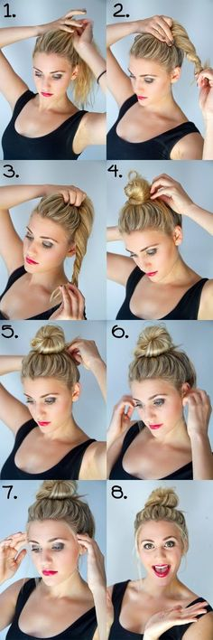 hair tutorial top-knot bun - I got lazy and did this almost every single day! Loved it. Can't do it now that all my hair is chopped!